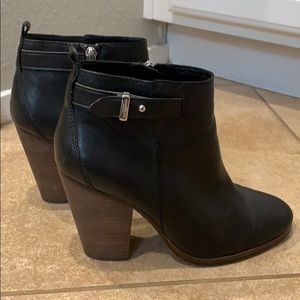 Black Coach Ankle Boots Leather 8.5 Women's